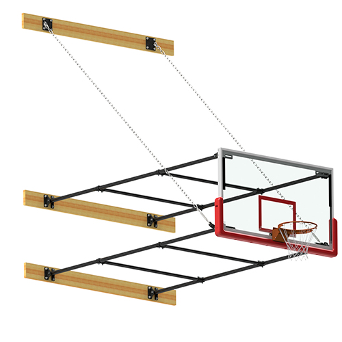 "Side Fold Backstop System – w/ 42"" Glass Backboard (10'- 12' Ext)"